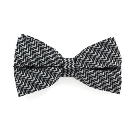 Silk Black Bow Tie With Chevron Pattern